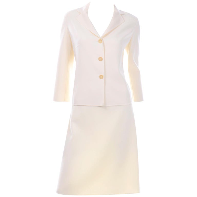 Celine Ivory Wool Suit With Skirt and Cropped Sleeve Jacket For Sale