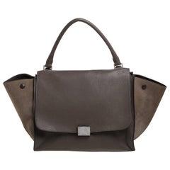 Celine Khaki Beige Leather and Suede Medium Trapeze Bag