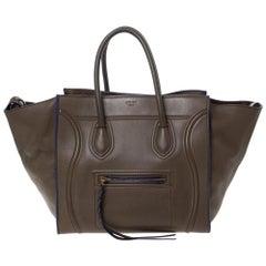 Celine Khaki Leather Medium Phantom Luggage Tote