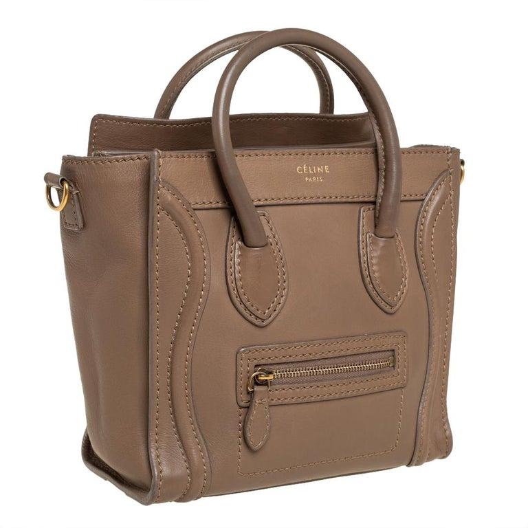 Brown Celine Khaki Leather Nano Luggage Tote For Sale
