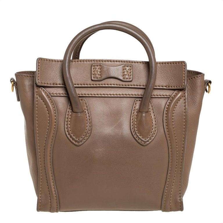 Celine Khaki Leather Nano Luggage Tote In Good Condition For Sale In Dubai, Al Qouz 2
