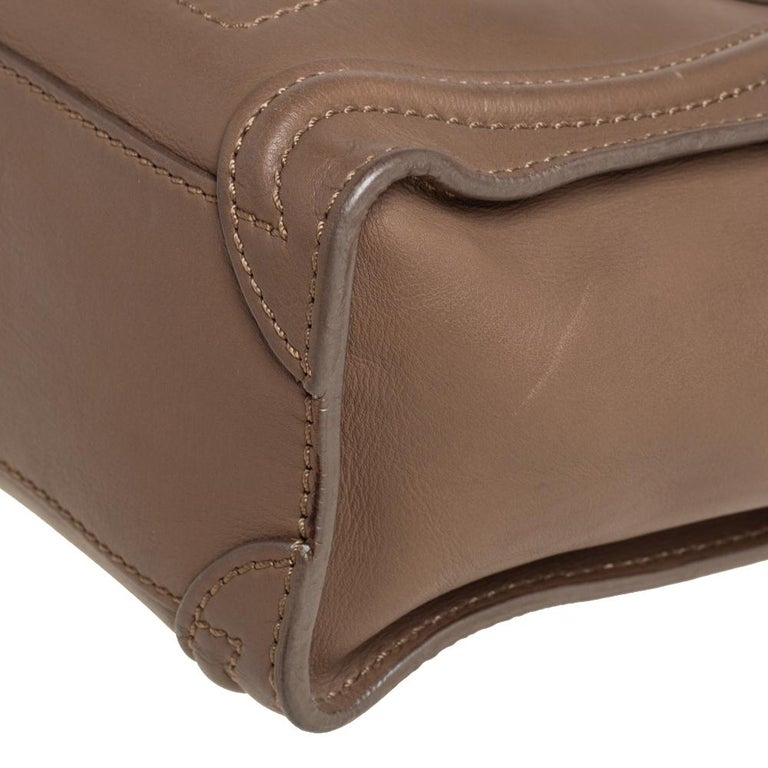 Celine Khaki Leather Nano Luggage Tote For Sale 2