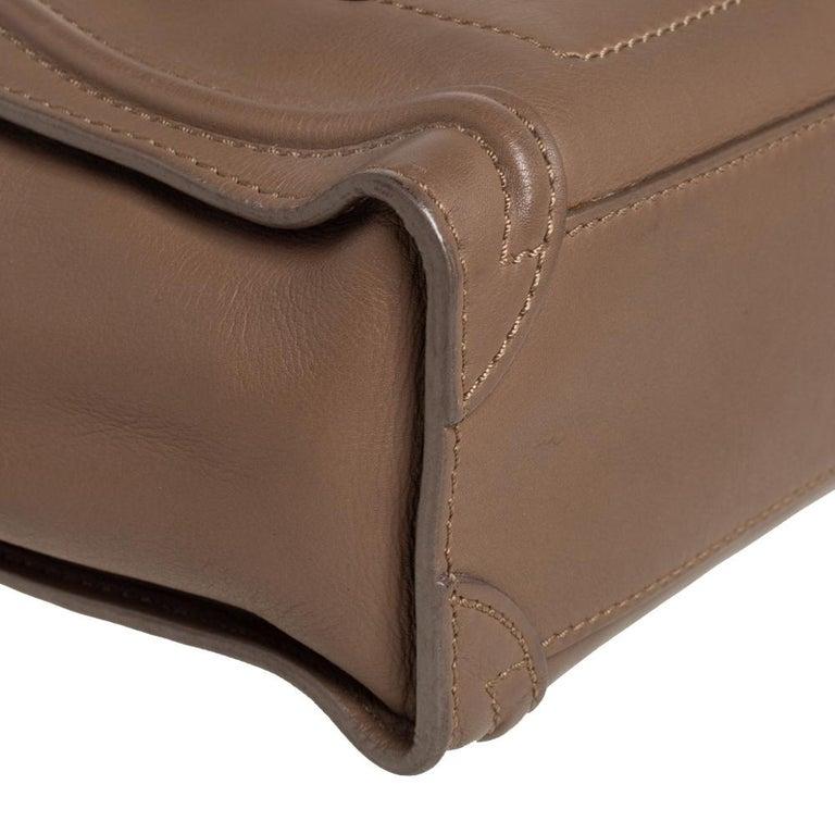 Celine Khaki Leather Nano Luggage Tote For Sale 3