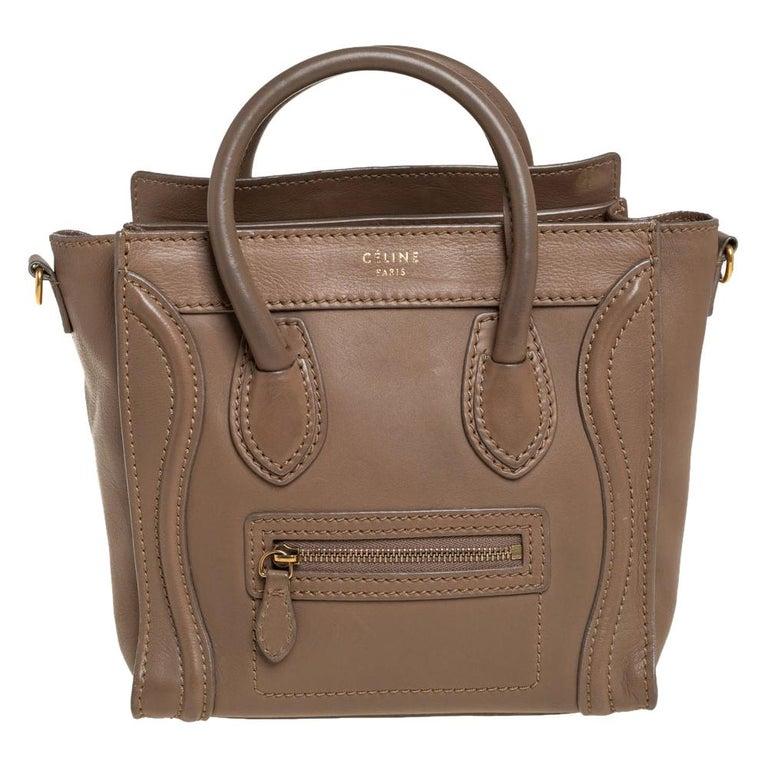 Celine Khaki Leather Nano Luggage Tote For Sale