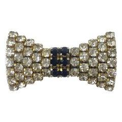 Celine Knot Vintage Brooch In Gold Metal And Rhinestones