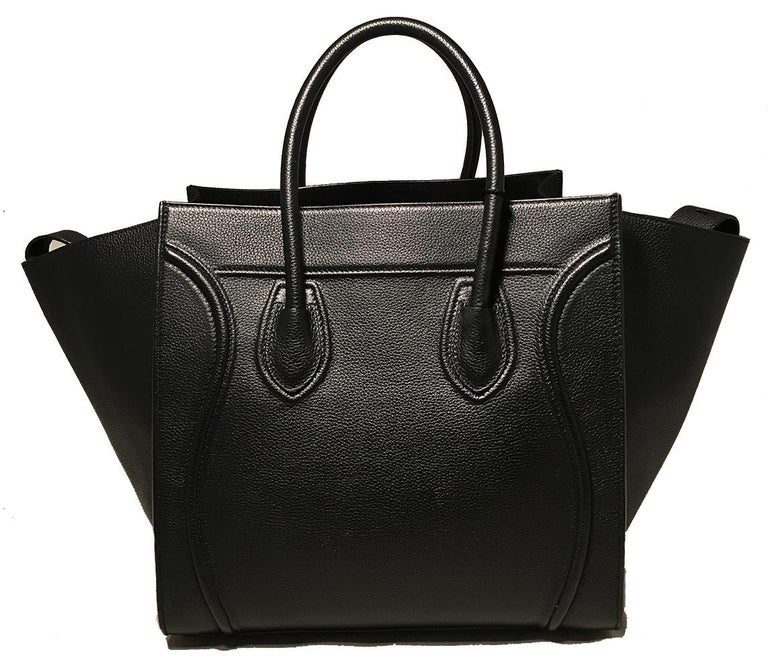 Celine Medium Black Leather Phantom Luggage Tote In Excellent Condition For Sale In Philadelphia, PA