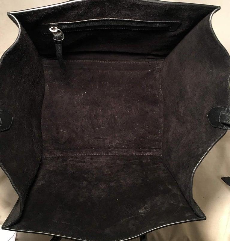 Celine Medium Black Leather Phantom Luggage Tote For Sale 2