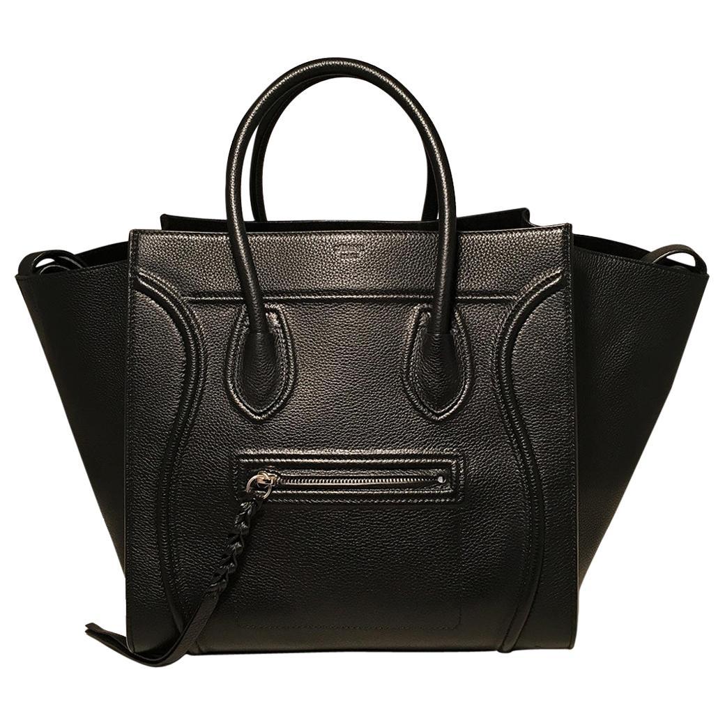Celine Medium Black Leather Phantom Luggage Tote