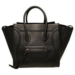 Celine Medium Black Leather Phantom Luggage Tote