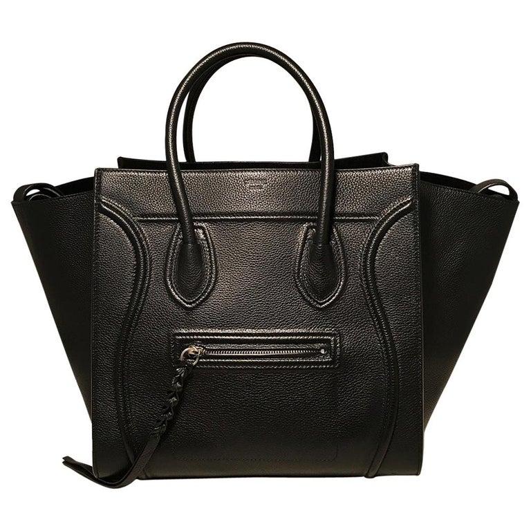 Celine Medium Black Leather Phantom Luggage Tote For Sale