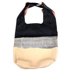 Celine Leather and Snakeskin Black, Cream and White Hobo Shoulder Bag Vintage