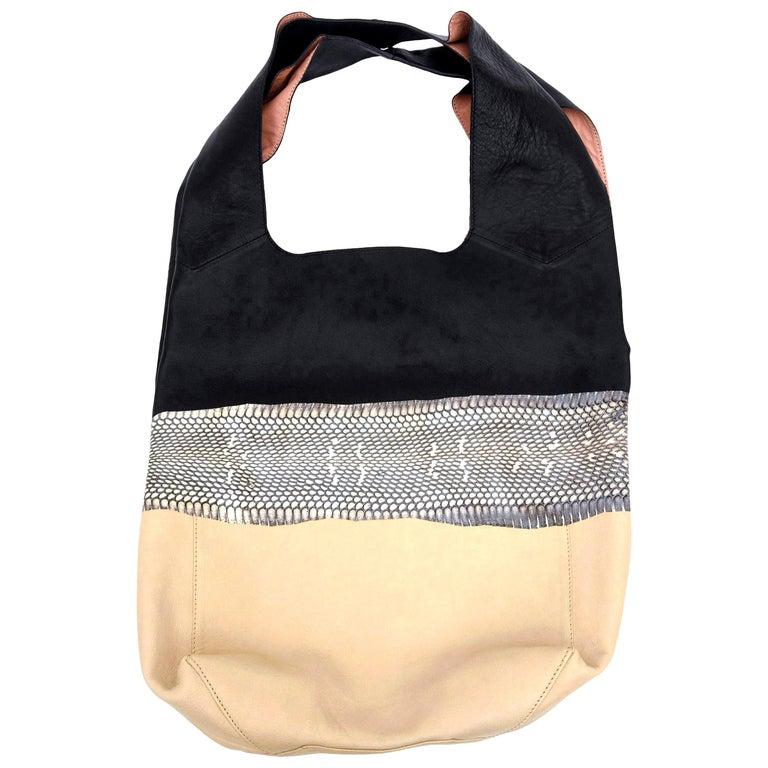 Celine Leather and Snakeskin Hobo Shoulder Bag Vintage For Sale