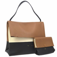 Celine Leather Black Cognac Cream Phoebe Philo Top Handle Satchel Flap Bag