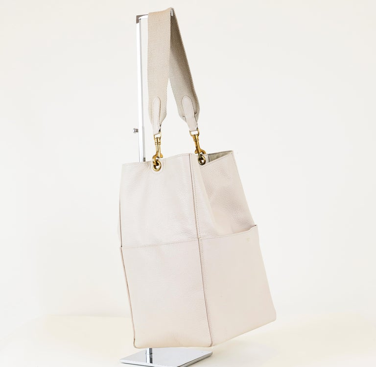 Celine Leather Bucket Bag, Bone color