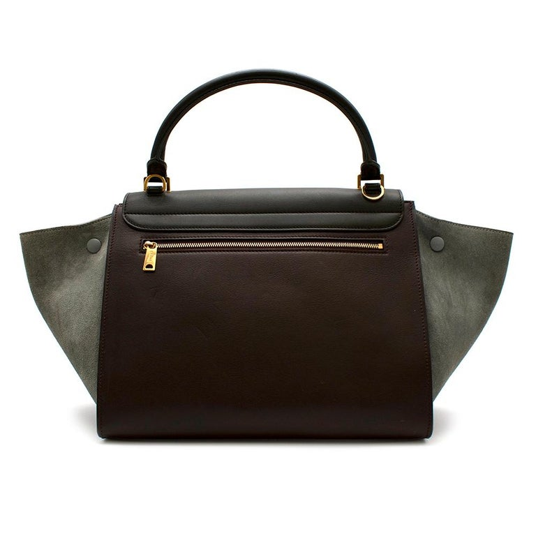 Celine Leather Burgundy Blue & Brown Trapeze Bag  -Celine by Phoebe Philo -Made of soft leather and suede  -Single rounded top handle -Adjustable detachable shoulder strap -Foldover top -Flip-lock fastening -Top zip fastening -Internal patch