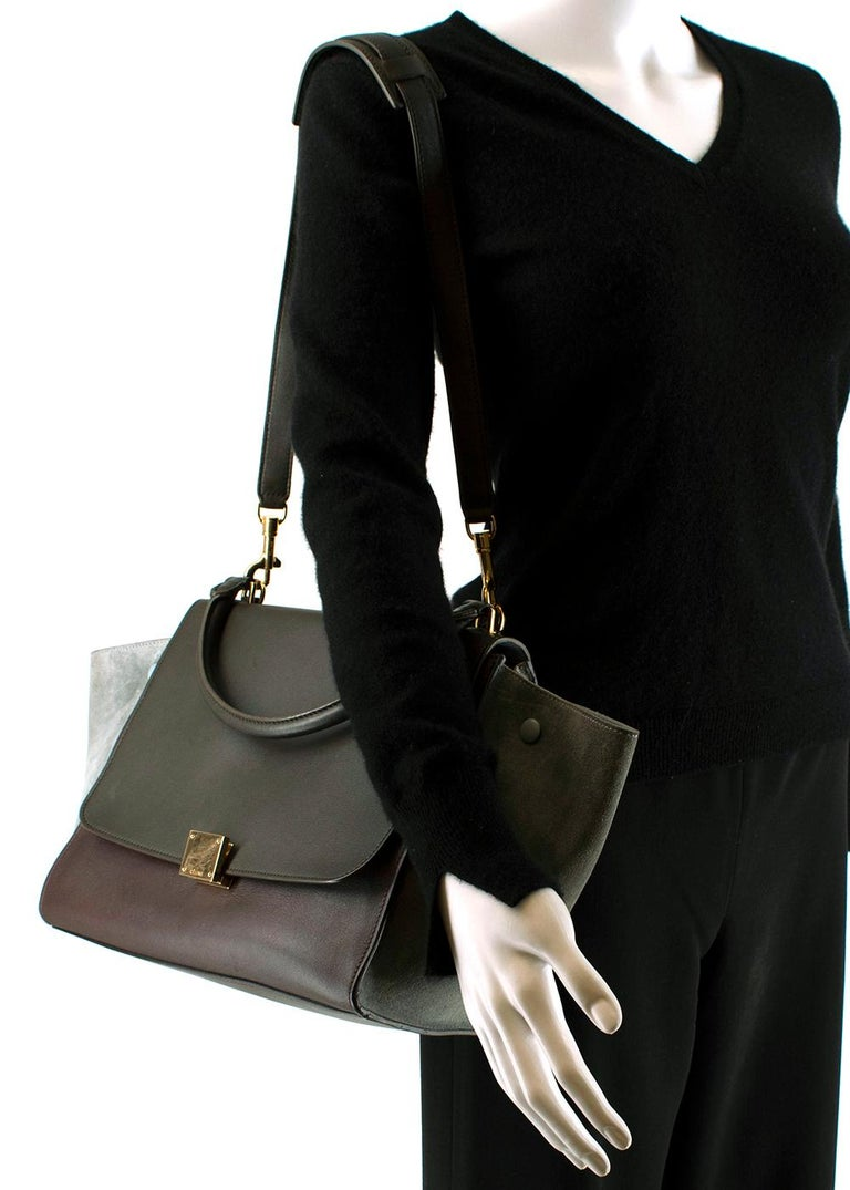Women's or Men's Celine Leather Burgundy Blue & Brown Trapeze Bag For Sale