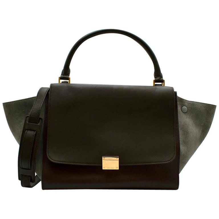 Celine Leather Burgundy Blue & Brown Trapeze Bag For Sale