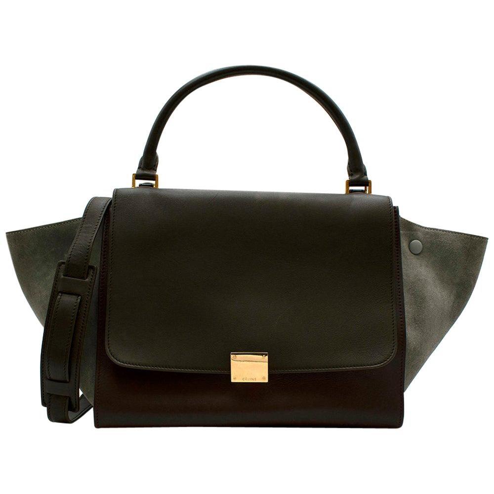 Celine Leather Burgundy Blue & Brown Trapeze Bag