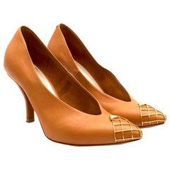 Celine Leather Cage Toe Pumps - Size EU 35