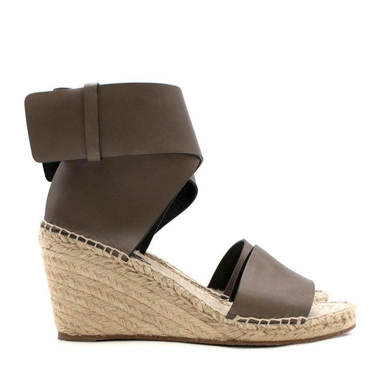 6c1369f0aea Celine Leather Espadrille Wedge Sandals 39