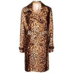 Celine Leopard Print Trench Coat