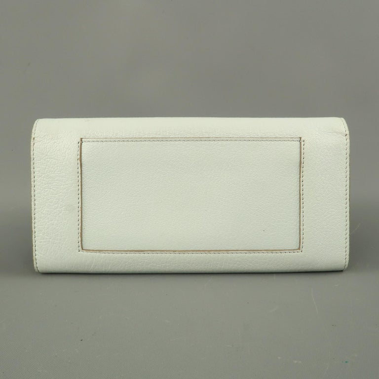CELINE Light Blue Leather Flap Checkbook Wallet In Good Condition For Sale In San Francisco, CA