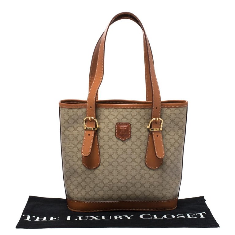 Celine Light Brown Macadam Coated Canvas and Leather Small Vintage Tote 8