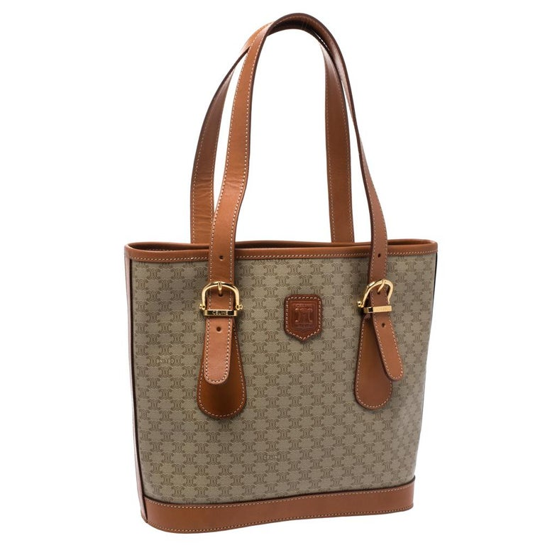 Women's Celine Light Brown Macadam Coated Canvas and Leather Small Vintage Tote