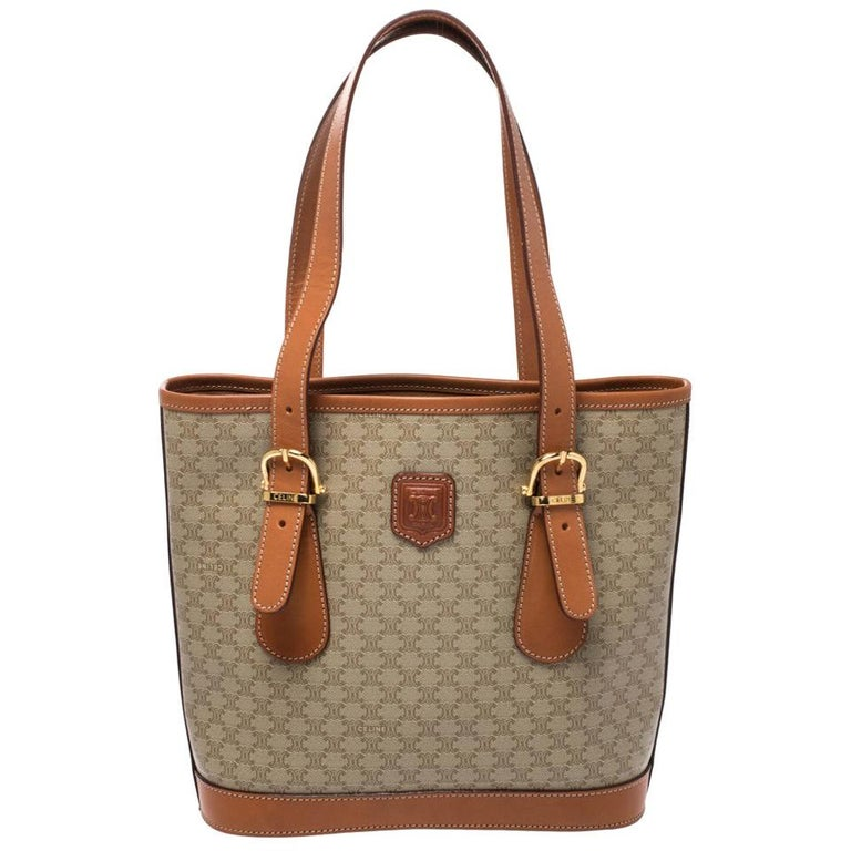 Celine Light Brown Macadam Coated Canvas and Leather Small Vintage Tote