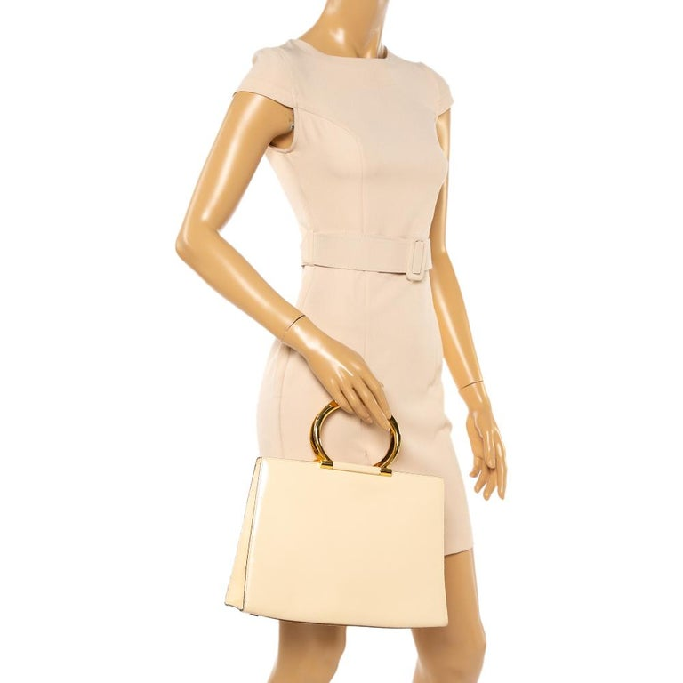 White Celine Light Cream Leather Ring Handle Tote For Sale