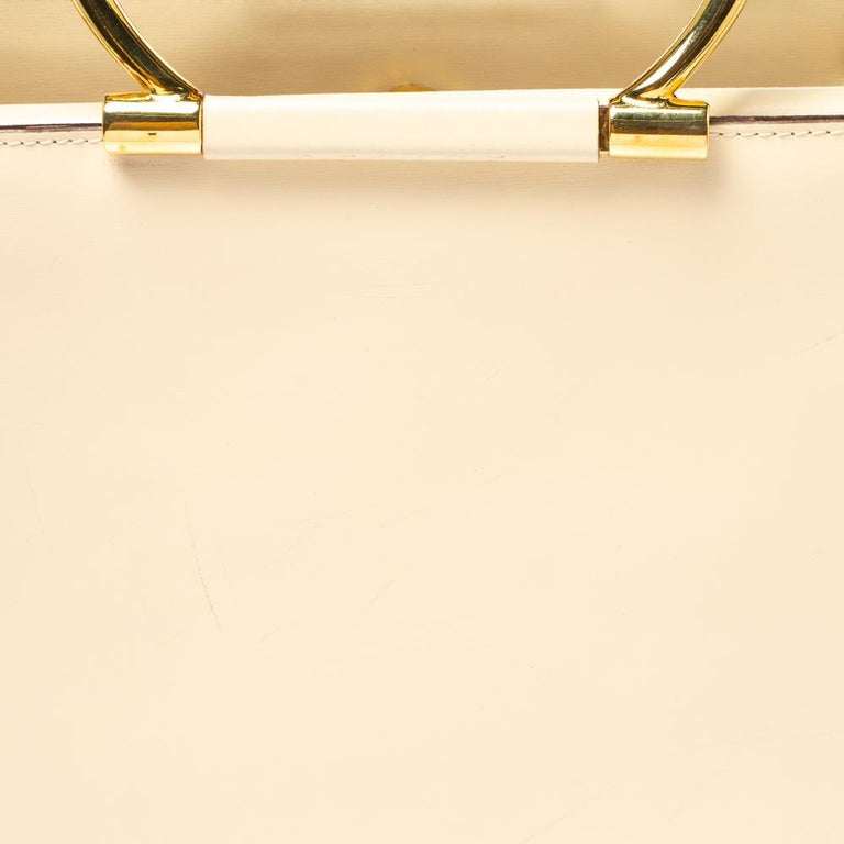 Celine Light Cream Leather Ring Handle Tote For Sale 1