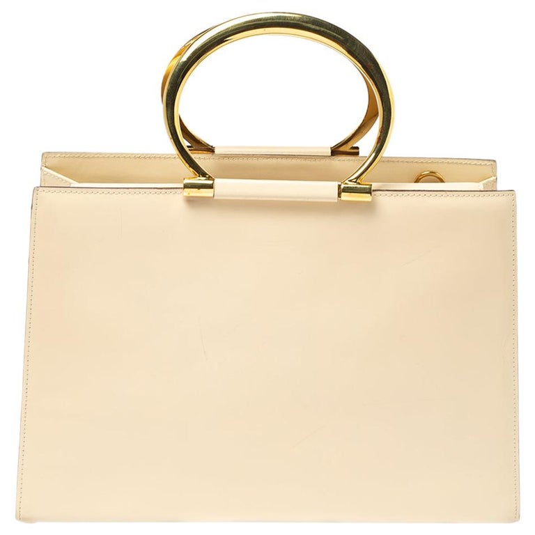 Celine Light Cream Leather Ring Handle Tote For Sale