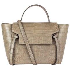 CELINE light taupe CROCODILE MINI BELT Shoulder Bag