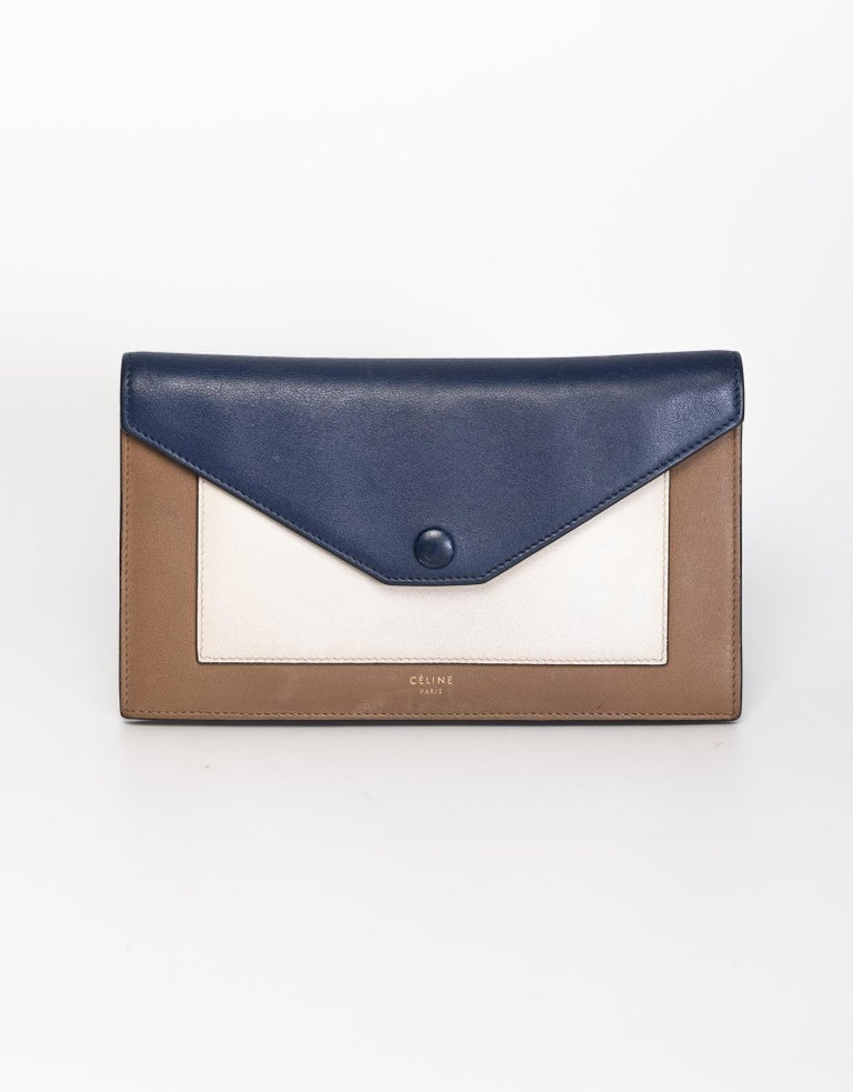 Gray Celine Long Wallet Blue Cream and Brown For Sale