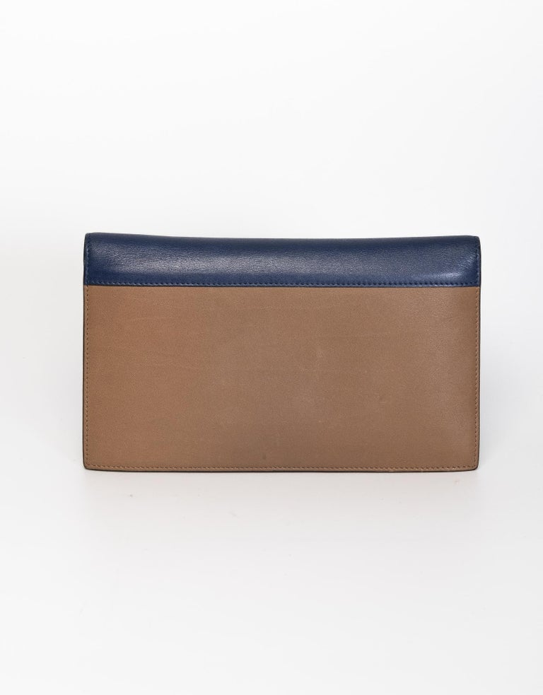 Celine Long Wallet Blue Cream and Brown In Excellent Condition For Sale In Montreal, Quebec