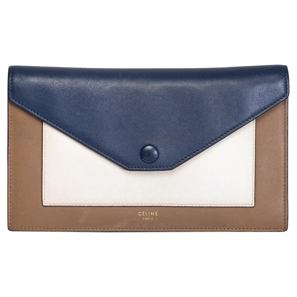 Celine Long Wallet Blue Cream and Brown