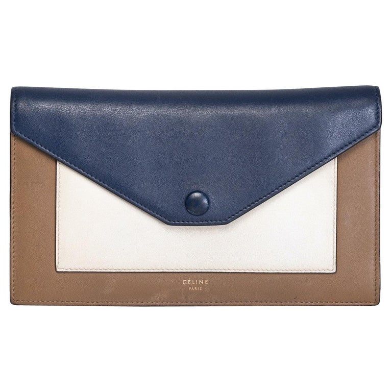 Celine Long Wallet Blue Cream and Brown For Sale