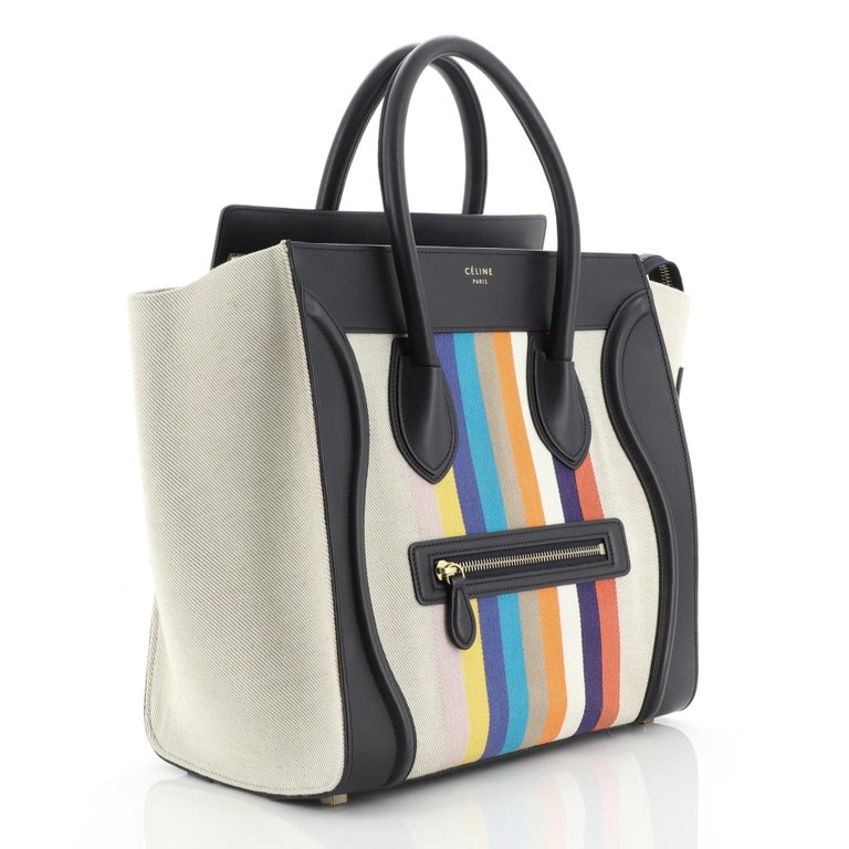 Black Celine Luggage Bag Canvas and Leather Mini