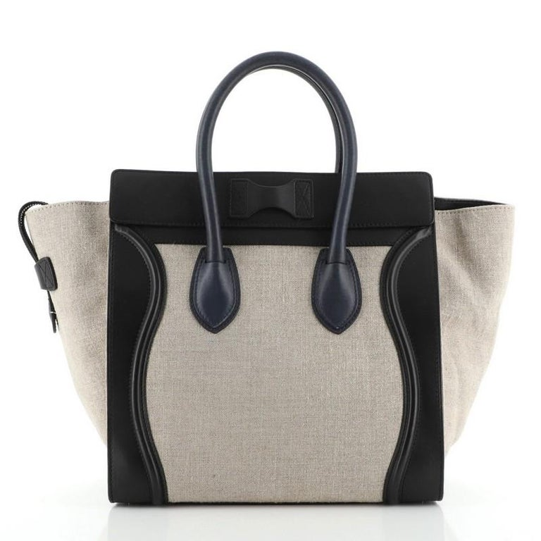 Gray Celine Luggage Bag Canvas and Leather Mini For Sale