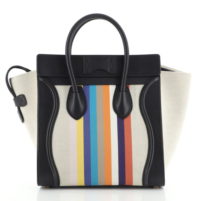Celine Luggage Bag Canvas and Leather Mini In Good Condition In New York, NY