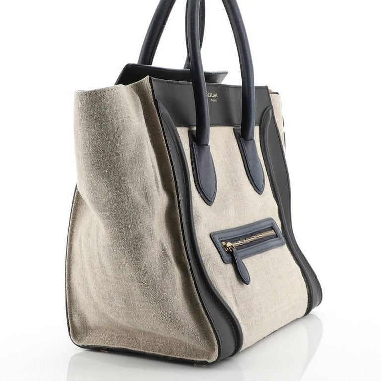 Celine Luggage Bag Canvas and Leather Mini For Sale 1