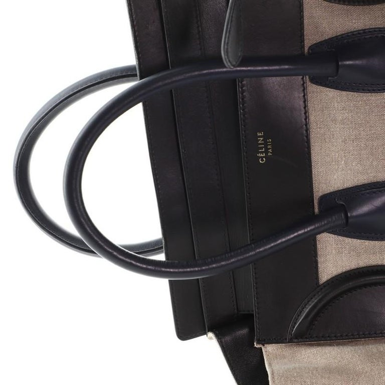 Celine Luggage Bag Canvas and Leather Mini For Sale 2