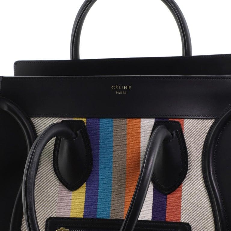 Celine Luggage Bag Canvas and Leather Mini 3