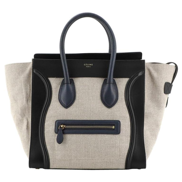 Celine Luggage Bag Canvas and Leather Mini For Sale