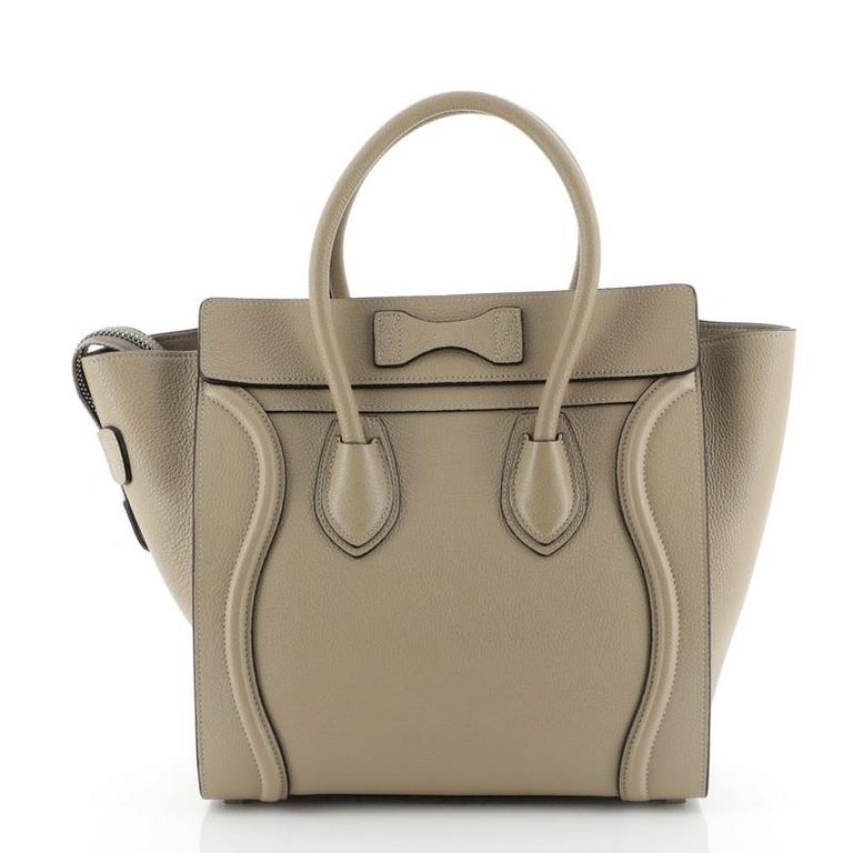 Brown Celine Luggage Bag Grainy Leather Micro  For Sale