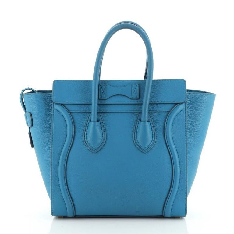 Blue Celine Luggage Bag Grainy Leather Micro For Sale