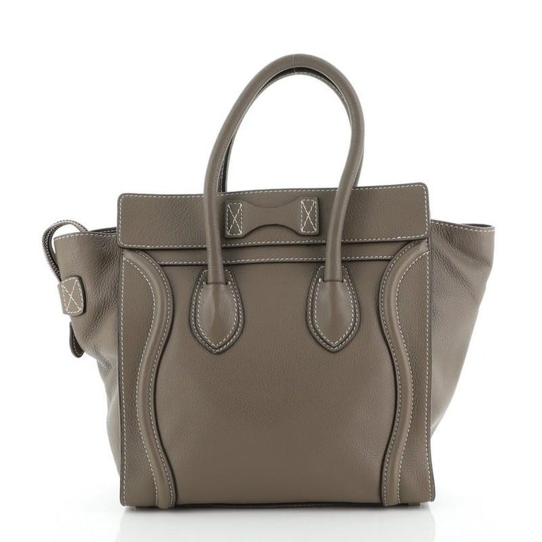 Gray Celine Luggage Bag Grainy Leather Micro For Sale
