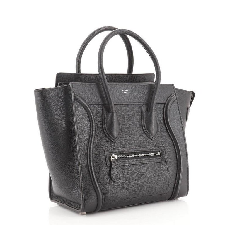 Black Celine Luggage Bag Grainy Leather Micro For Sale