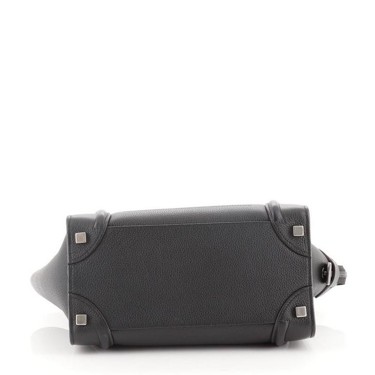 Women's or Men's Celine Luggage Bag Grainy Leather Micro For Sale