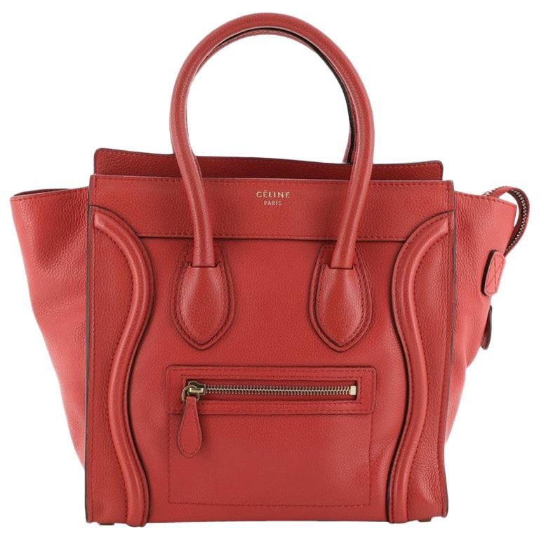 Celine Luggage Bag Grainy Leather Micro For Sale